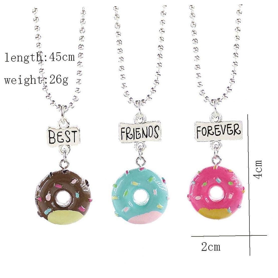 BYFRI 3 pc//Insieme Carino Donuts Gelato Collana Pendente Best Friends Forever collane per Donne degli Uomini