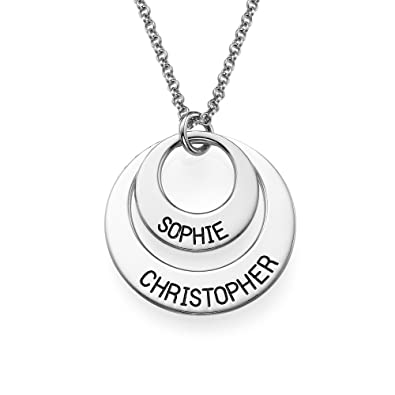 Mother Necklace Personalized Disc Name Necklace- Custom Made with any 2 Names tzcb1Tk