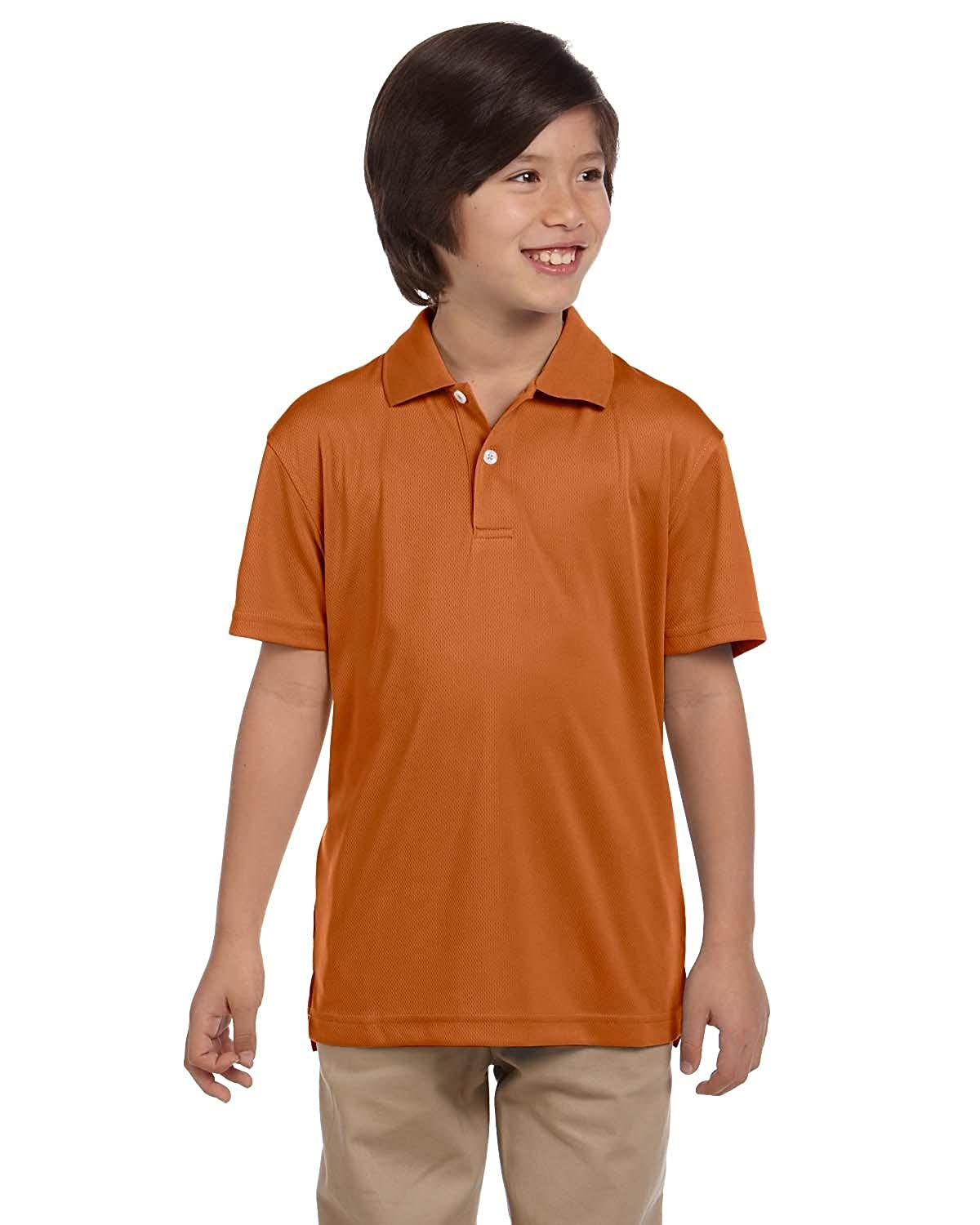 Harriton Youth 3.5 oz Double Mesh Sport ShirtS TEXAS ORANGE M353Y