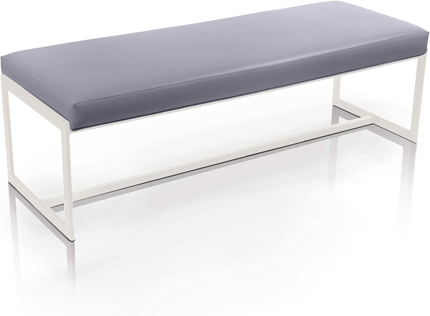 Elegant Design Finished Polished Stainless Steel Frame Faith Bench Fabric Polyurethane with Pedestal Legs Modern Flair Seat Furniture for Dining Room and More! Strange DNA Faith Bench