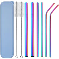 """Metal Straws, VECU Stainless Steel Straws Set of 6 Reusable 8.5""""Multiple Sizes Rainbow Drinking Straws with Carry Bag Smoothie Straw for 30/20oz Tumbler Cold Beverage (Rainbow)"""