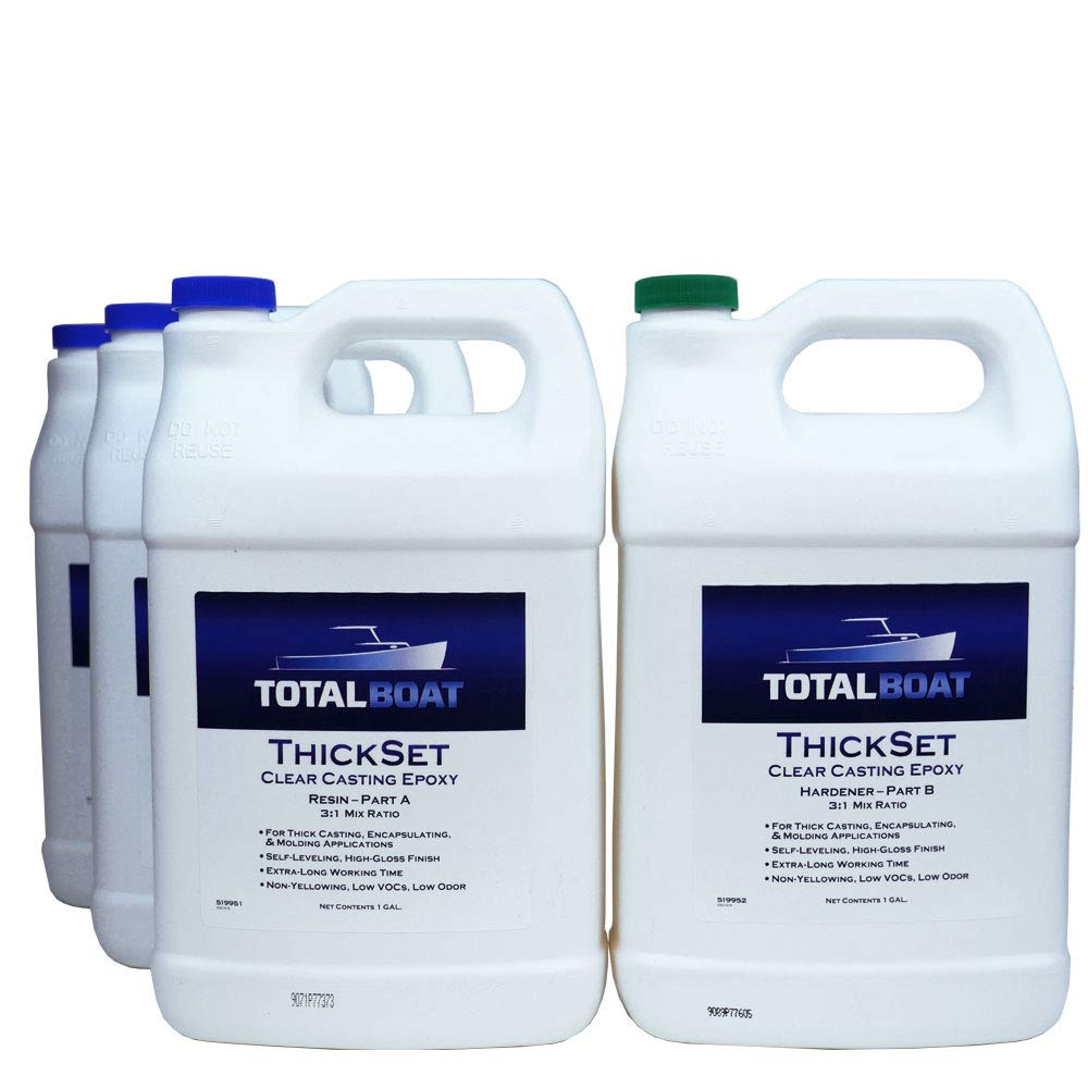 TotalBoat Thickset Clear Casting Epoxy   Crystal Clear Resin Kit for Deep Pours, Casting, and Molds (4 Gallon Kit)
