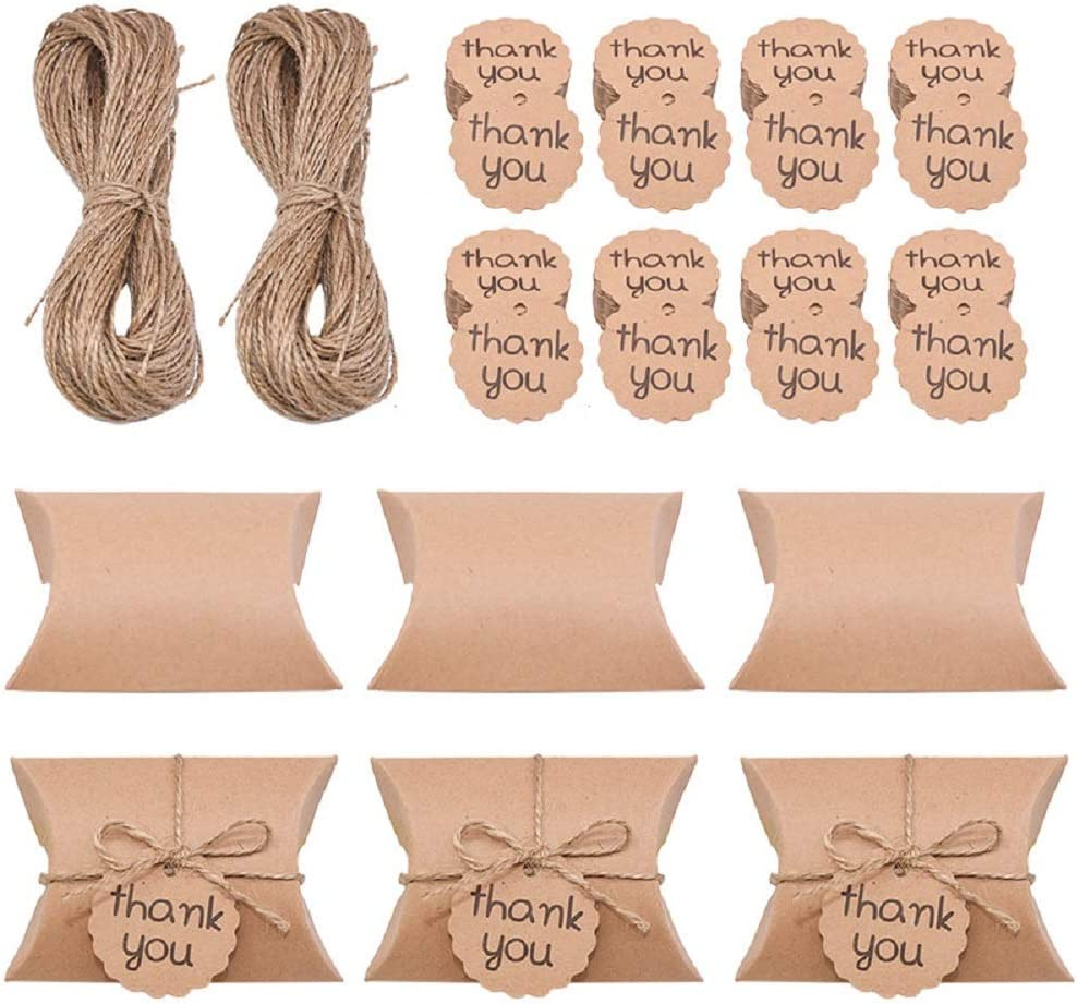 50 Pack Small Gift Boxes Kraft Paper Pillow Candy Box with Jute Twine and Thank you Kraft Paper Tags for Wedding Favors Baby Shower Birthday Party Gift Decorations