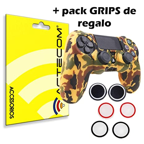 ACTECOM® Funda Carcasa + Grip Silicona Camuflaje Mando Sony PS4 Playstation 4 Camuflaje Marron