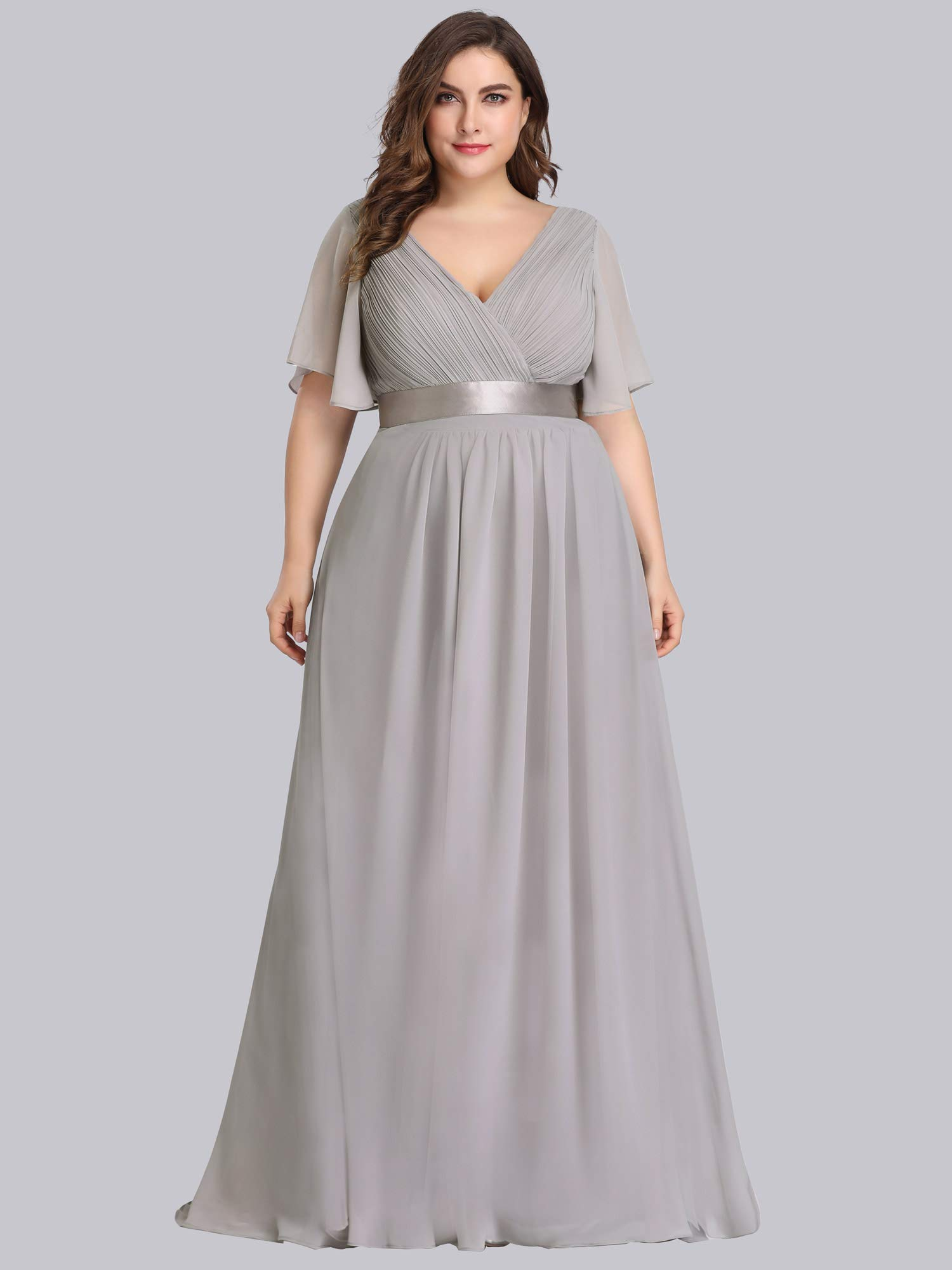 Alisapan Womens A-Line Bridesmaid Dress Plus Size Formal Evening Dresses  Grey US20
