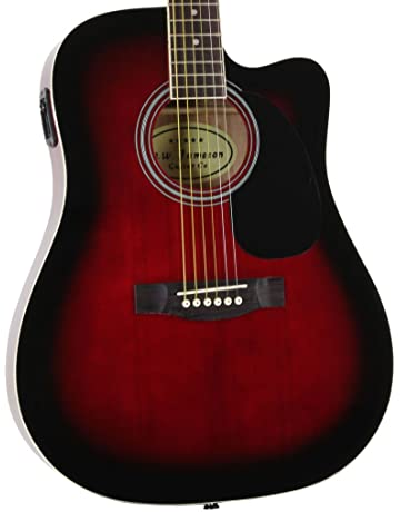 Jameson Guitars Full Size Thinline Acoustic Electric Guitar with Free Gig Bag Case & Picks Red