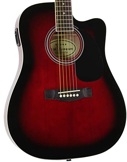 Jameson Guitars Full Size Thinline Acoustic Electric Guitar With Free Gig Bag Case Picks Red