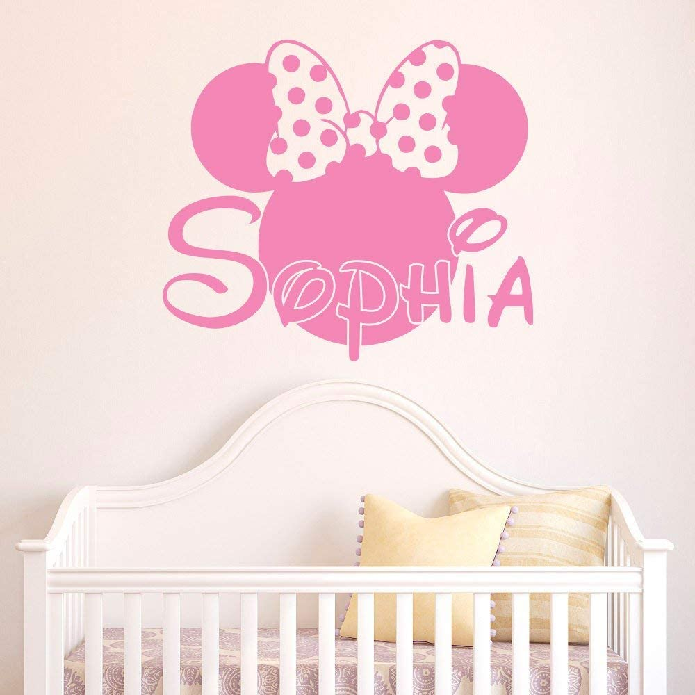Girl Name Vinyl Wall Decal- Minnie Mouse Vinyl Wall Decals Personalized Name Stickers Baby Kids Girls Room Decor Nursery Vinyl Wall Art Home Interior Made in USA