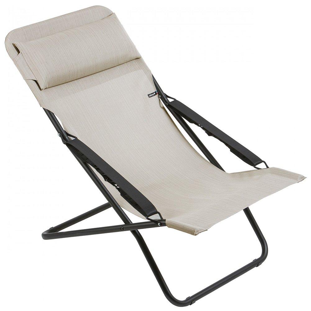 LAFUMA Liegestuhl Transabed Batyline Duo aus Stahl, schwarz, ca. 70 x 105 x 117 cm, Sitzfläche aus hochwertiger Textilene in galet, Sessel dreifach verstellbar, klappbar, Kopfpolster, wetterfest