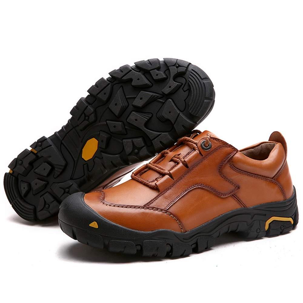 Qiusa Mens Casual Echtes Leder Schuhe Weiche Sohle Rutschfeste Durable Outdoor Sportschuhe (Farbe   Braun, Größe   EU 40)