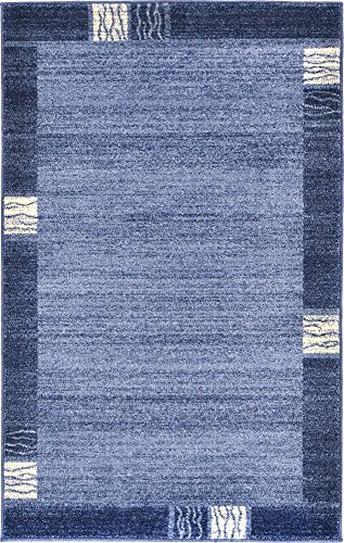 Unique Loom Del Mar Collection Contemporary Transitional Light Blue Area Rug (3' 3 x 5' - Blue Transitional Rug Area