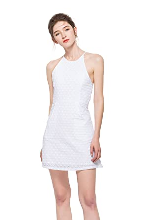f9fd8b93bb ROMOCEN Summer Dresses for Women 100% Cotton Knee Length Sleeveless Sexy  Date Night Dresses with