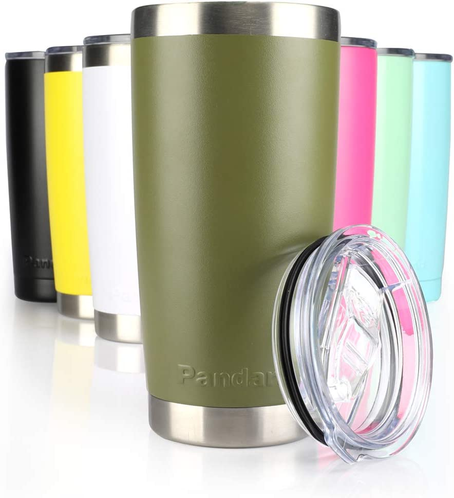 Pandaria 20 oz Stainless Steel Vacuum Insulated Tumbler with Lid - Double Wall Travel Mug Water Coffee Cup for Ice Drink & Hot Beverage, Army Green