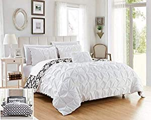 Chic Home 4 Piece Zissel Pleated Pintuck and Printed Reversible with Elephant Embroidered Pillow Queen Duvet Cover Set White