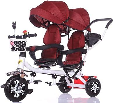 YAYA Portátil Carro de bebé Triciclo Doble for niños Carro de ...