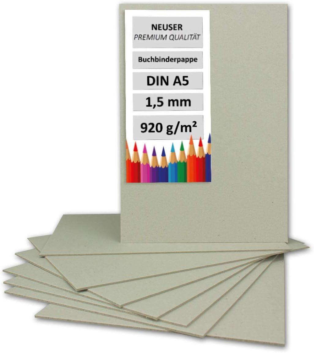 Cartón de encuadernación de 1,5 mm - Cartón extremadamente resistente, color DIN A5 gris y marrón – 1,5 mm. 10 unidades