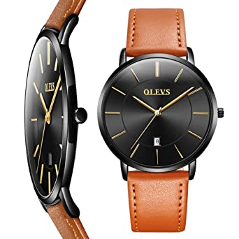 Amazon Watch Thin Mens Watches Men S Watch Blue White Black Dial Wrist Watches Mens Leather Watch Black Yellow Brown Simple Men Business Watch With