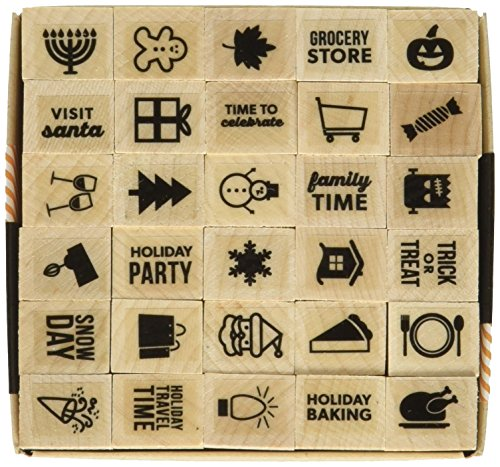 Hero Arts Kelly's Holiday Planner Icons Wood Block Rubber Stamp ()