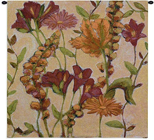 Garden Blooms by Claire Learner | Woven Tapestry Wall Art Hanging | Contemporary Irises Daisies and Lilies Floral Array | 100% Cotton USA Size ()