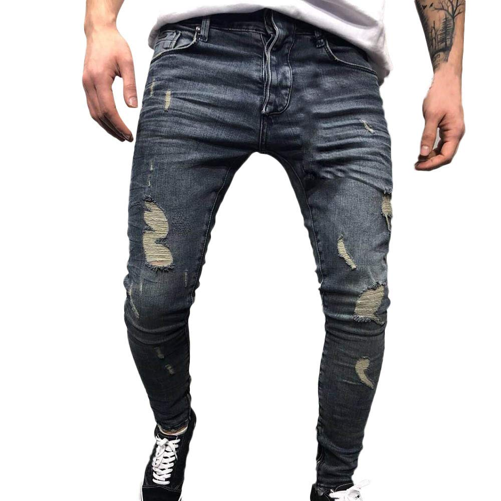 iYYVV Men's Autumn Denim Cotton Straight Ripped Hole Trousers Distressed Jeans Pants