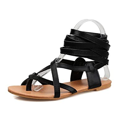 0a0e1218c Womens Strappy Roman Gladiator Sandals Flat Peep Open Toe Keen High Tall  Casual Caged Sandals Shoes