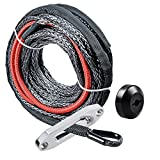 "Astra Depot 50' x 1/4"" Synthetic Winch Rope 6400LBs Protective Sleeve 40"" Heat Guard + Rubber Stopper + Hawse Fairlead"