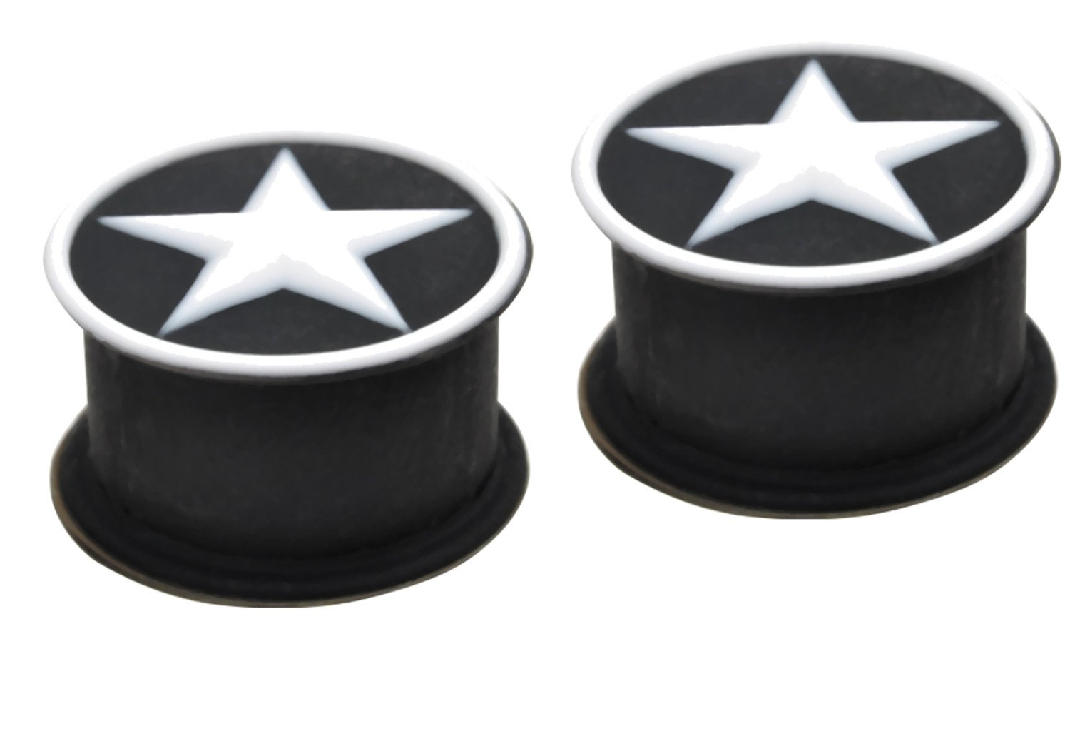 Zaya Body Jewelry PAIR of White Star Black Silicone Tunnels Ear Plugs Gauges rubber 1/2'' 00g 0g 2g (12mm, 10mm, 8mm, 6mm) (9/16'' 14mm)