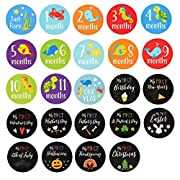 Baby Milestone Stickers - 24-Count First Year Cute Baby Monthly Stickers, 12 Months and 12 Milestones, Including Birthday, Thanksgiving, Christmas, 4.4 inches in Diameter
