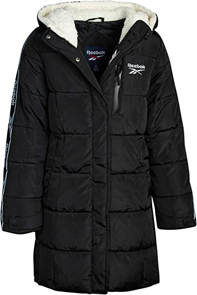 Reebok Girls' Winter Jacket - Stadium Length Quilted Bubble Puffer Coat with Sherpa Hood