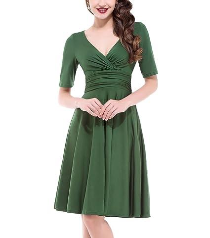 GRACE KARIN - Vestido - para Mujer Verde Verde Small: Amazon.es: Ropa y accesorios