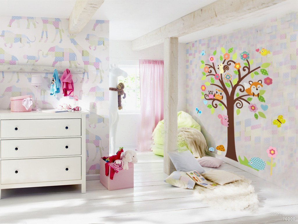 Wallstickers Decal Owl Singing On Colorful Tree Wall Decal Art