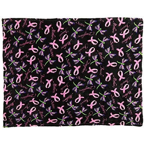 GreaterGood Super Cozy Fleece Pink Ribbon Throw Blanket