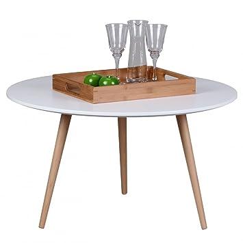 Wohnling Design Couchtisch Scanio, 80 x 80 x 45 cm Form Rund ...