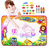 Fstop Labs [UPGRADED] Large Kids Water Painting Doodle Mat Pad, Kids Toys Aqua Mat, Magic Water Drawing Mat Toddler Writing Mat with 2 Magic Pens 2 Brush and 16 Stencils Kids Educational Toys