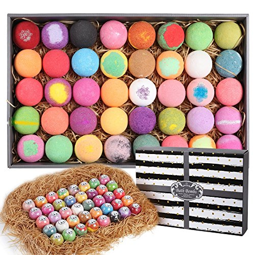 Purelis Natural Bath Bomb Gift Set. Bath Bombs for Kids, Women & Men. Makes Best Gift Set for Valentines Day! Each Individually Wrapped (40 Count) (Bath Bubble Bomb Fizz)
