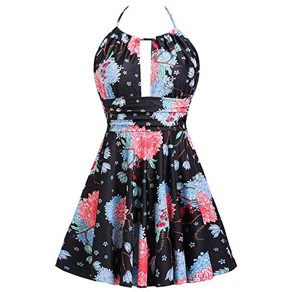One Piece Plunge Swimdress Swimskirt for Women Tummy Control High Waisted Halter Floral Bathing Suits Swimsuits
