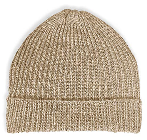 Natural Long Wool (Ribbed Stocking Cap - 100% Alpaca Wool - Traditional Fisherman Style Work Fashion Unisex Durable All Weather Hat (Lt. Brown))