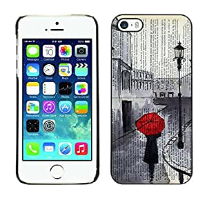 Caucho caso de Shell duro de la cubierta de accesorios de protección BY RAYDREAMMM - Apple iPhone 5 / 5S - Romantic Sad Painting Red Umbrella