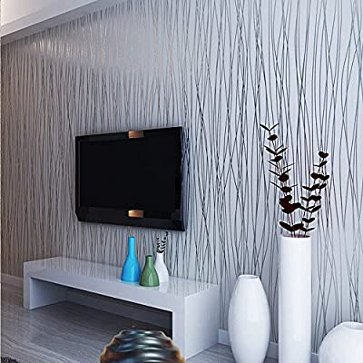 QIHANG Non-woven Classic Flocking Plain Stripe Modern Fashion Wallpaper Wall Paper Roll for Living Room Bedroom Silver&gray Color Wallpaper Roll 0.53m10m=5.3?