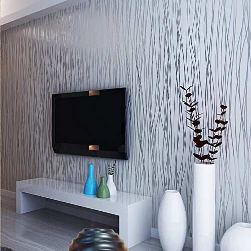Wallpaper Modern Stripe (QIHANG Non-woven Classic Flocking Plain Stripe Modern Fashion Wallpaper Wall Paper Roll for Living Room Bedroom Silver&gray Color Wallpaper Roll 0.53m10m=5.3㎡)