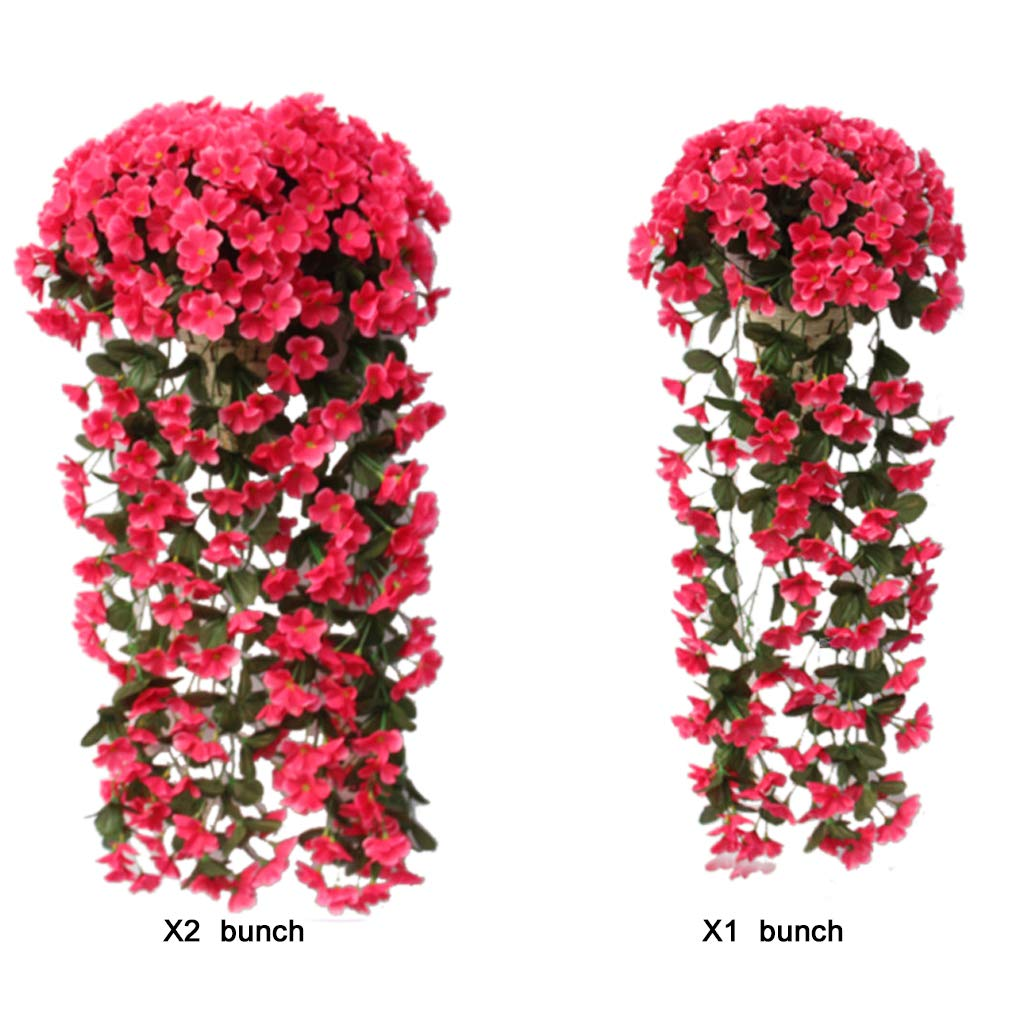 2pcs Artificial Violet Ivy Flowers,DIY Hanging Flowers Wedding Decor,Wall Silk String Floral Wisteria Basket Garland Vine Flowers Home Hotel Office Party Garden Craft Art Decor (Red)