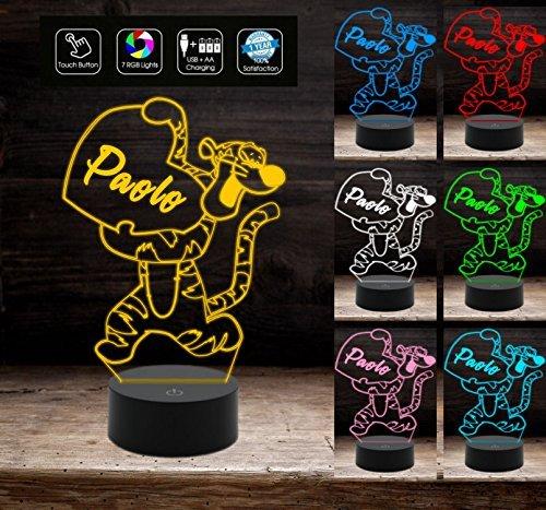 Lampada led 7 colori da tavolo o scrivania TIGGER per cameretta bambini Idea regalo compleanno TIGRO Decorazione della casa Night Light