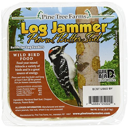 Pine Tree Farms 5002 Log Jammer Woodpecker Peanut Suet Plug, 3 plugs per pack , 9.4-Ounce (Peanut Butter Bird Food)