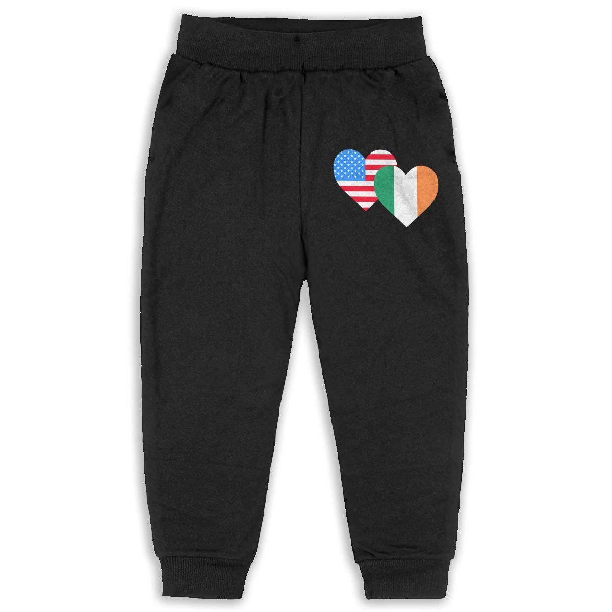 Classic Girls Boys Elastic Trousers American Irish Heart Flag-1 Kids /& Toddler Pants