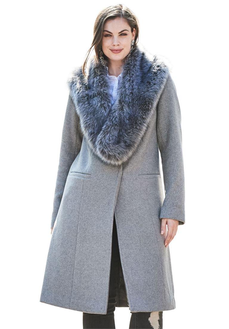 Roamans Women's Plus Size Menswear Coat Medium Heather Grey,18 W
