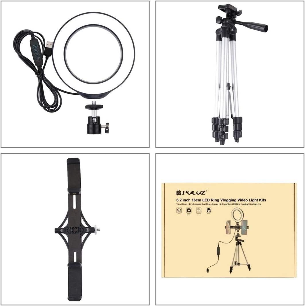 Live Broadcast Dual Phone Bracket Camera Accessories Tripod Mount 6.2 inch 16cm LED Ring Vlogging Video Light Kits