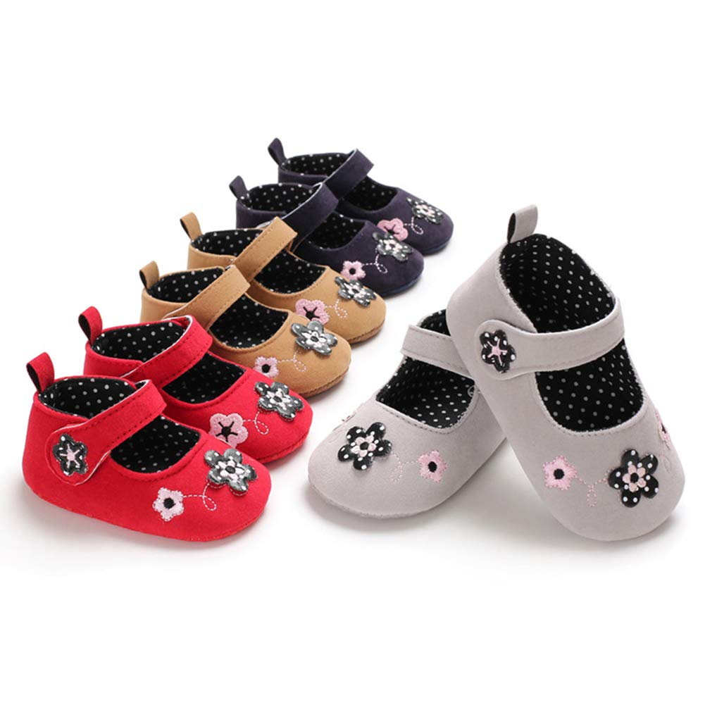 Alamana Fashion Flower Floral Infant Baby Girl Prewalker Anti-Slip Soft Sole Toddler Crib Shoes Grey 13cm
