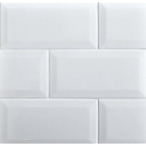 Kitchen Backsplash White Tile: White Subway Tile Backsplash: Amazon.com