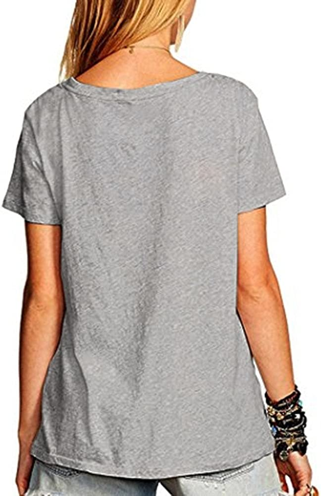 ZOMUSAR Womens Summer Street Style Feather Pattern T-Shirts Casual Loose Top Tee Shirts