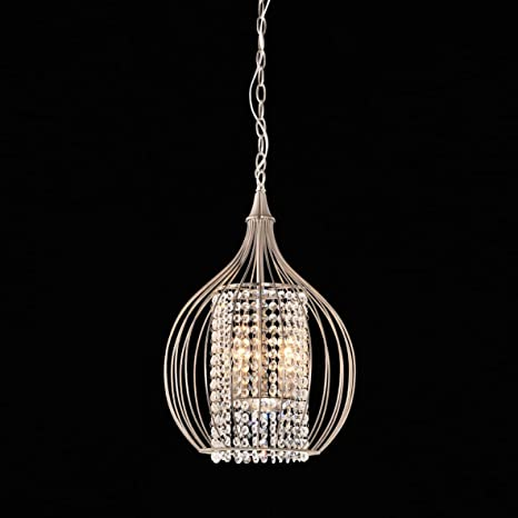 Compact satin nickel and crystal pendant chandelier amazon compact satin nickel and crystal pendant chandelier mozeypictures Gallery